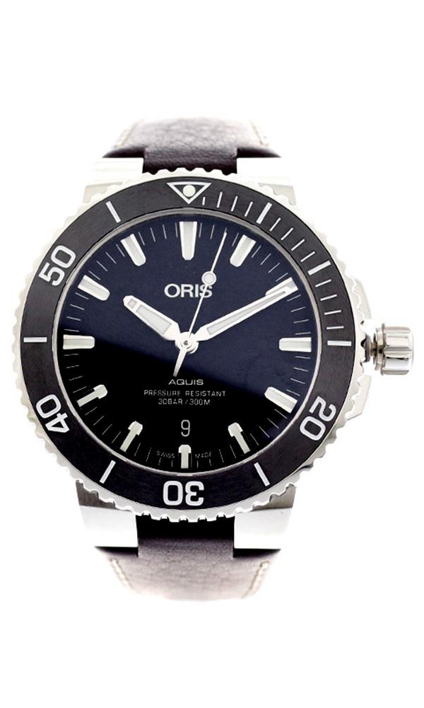 オリス ORIS 腕時計 メンズ 73377304154D AQUIS 自動巻き ブラック ダークブラウン ブラック【送料無料】