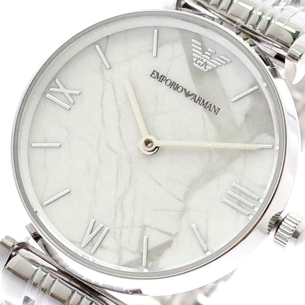 エンポリオアルマーニ EMPORIO ARMANI 腕時計 レディース AR11170 クォーツ ホワイトマーブル シルバー シルバー【送料無料】