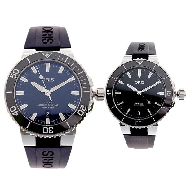 ペアウォッチ オリス ORIS 腕時計 メンズ レディース 73377304135R 73377314154R AQUIS 自動巻き ネイビー ブラック【送料無料】