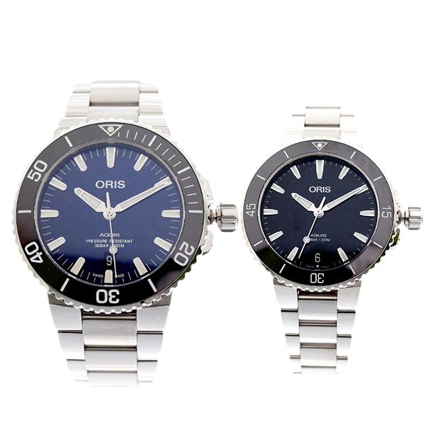 ペアウォッチ オリス ORIS 腕時計 メンズ レディース 73377304135M 73377314154M AQUIS 自動巻き ネイビー ブラック【送料無料】