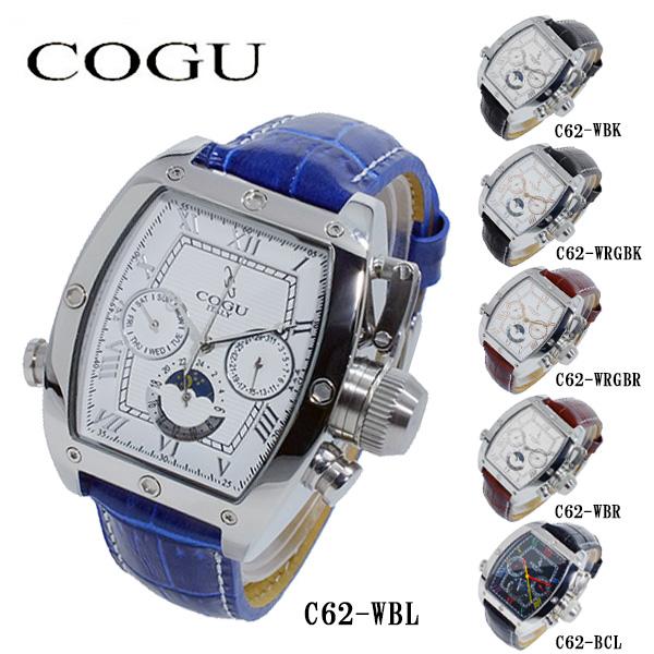 コグ COGU 自動巻き メンズ 腕時計 時計 C62-WBL ホワイト-シルバー/ブルー