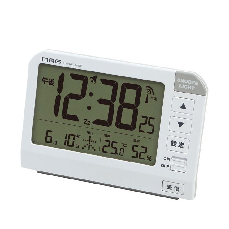 直営ストア デジタル 置き時計 激安通販 MAG 電波目覚まし時計 ホーネット T-767 WH-Z 卓上 電波 カレンダー 温度 ライト コンパクト 湿度 電波時計