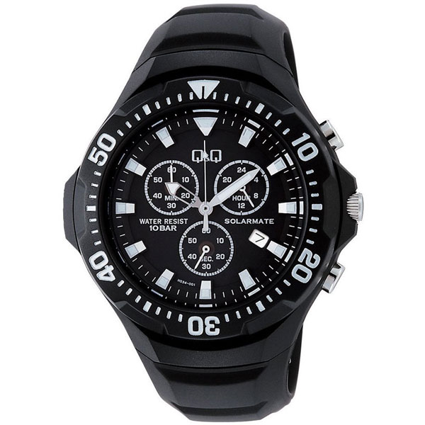 【CITIZEN】シチズン Q&Q ソーラー電源 メンズ腕時計H034-001 SOLARMATE (ソーラーメイト) /5点入り(代引き不可)