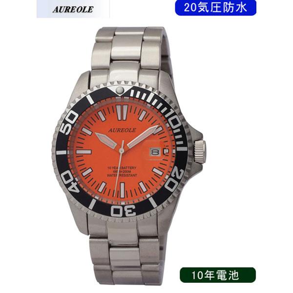 【AUREOLE】オレオール メンズ腕時計 SW-416M-A3 アナログ表示 10年電池 20気圧防水 /10点入り(代引き不可)