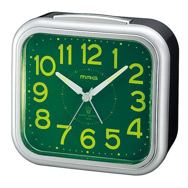 スタンダード目覚し時計 T-619 めざマグ 銀メタリック/24点入り(代引き不可)