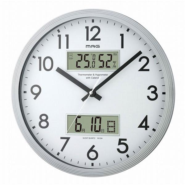 温湿計付掛時計 W-563 ダブルウィンドウ /10点入り(代引き不可)