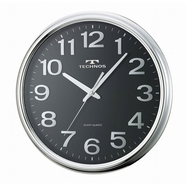 【TECHNOS】国内版権 テクノス 掛時計 W-547 ブラック/5点入り(代引き不可)【送料無料】