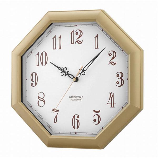八角電波掛時計 W-505-c オレガノ ナチュラル/12点入り(代引き不可)【S1】