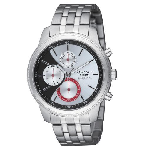 【AUREOLE】オレオール メンズ腕時計 SW-575M-4 クロノグラフ 10気圧防水 /1点入り(代引き不可)