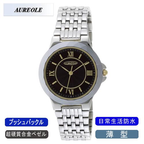 【AUREOLE】オレオール メンズ腕時計 SW-489M-1 アナログ表示 薄型 超硬質合金ベゼル 日常生活用防水 /5点入り(代引き不可)