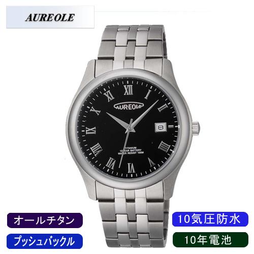 【AUREOLE】オレオール メンズ腕時計 SW-483M-4 アナログ表示 10年電池 オールチタン 10気圧防水 /10点入り(代引き不可)