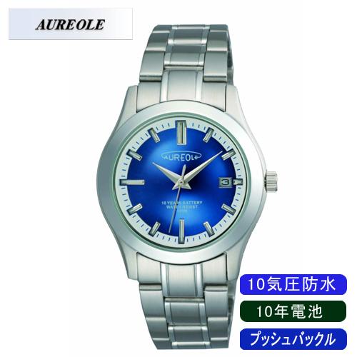 【AUREOLE】オレオール メンズ腕時計 SW-490M-5 アナログ表示 10年電池 10気圧防水 /10点入り(代引き不可)