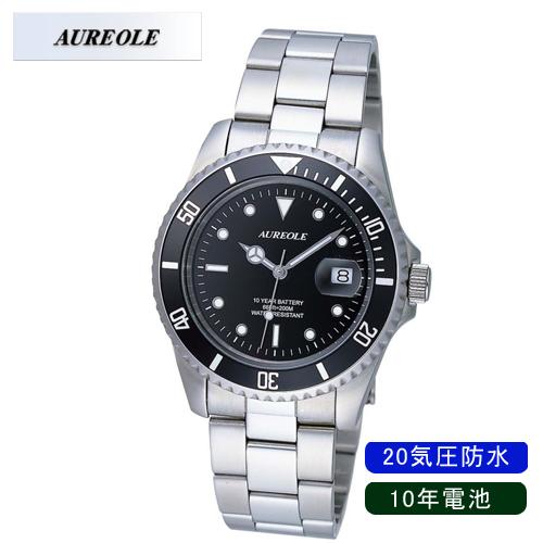 【AUREOLE】オレオール メンズ腕時計 SW-416M-1 アナログ表示 10年電池 20気圧防水 /5点入り(代引き不可)