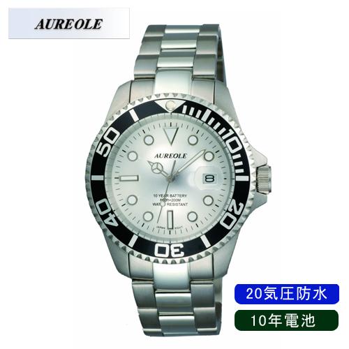 【AUREOLE】オレオール メンズ腕時計 SW-416M-3 アナログ表示 10年電池 20気圧防水 /5点入り(代引き不可)