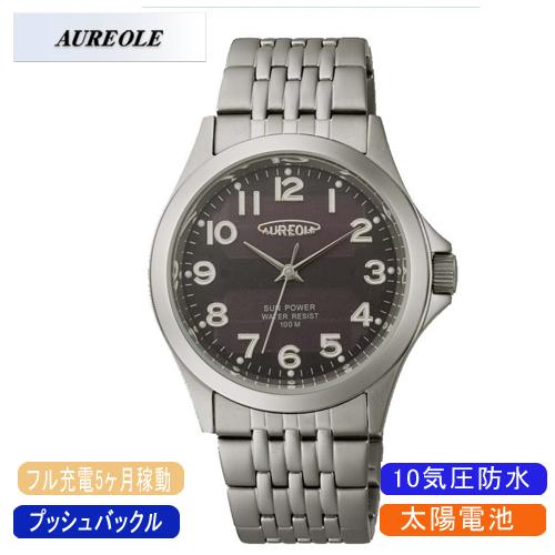 【AUREOLE】オレオール メンズ腕時計 SW-482M-1 アナログ表示 ソーラー 10気圧防水 /10点入り(代引き不可)