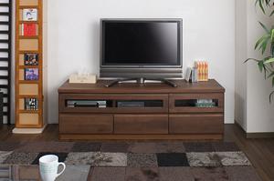 天然木テレビボード 150.5cm幅 ダークブラウン色【送料無料】【日本製】【完成品】