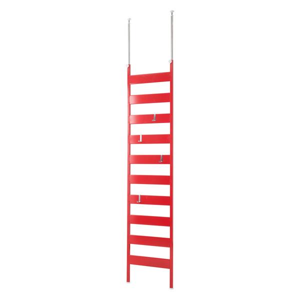 壁面ディスプレイ ラダーラック 幅46cmタイプ 赤色 壁面 ラダーラック パーテーション 突っ張り 省スペース フック(代引不可)【送料無料】
