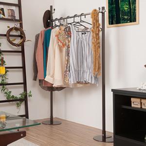 室内物干し兼用ハンガー シングル ブラウン色 ポールハンガー ハンガーラック 衣類収納 服吊 ワードローブ(代引不可)【送料無料】
