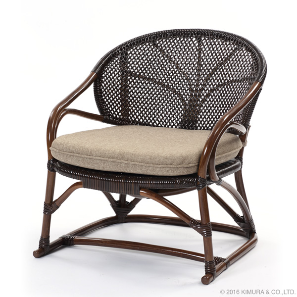 ラタン 手編み パーソナルチェア 籐家具 インテリア イス 椅子 腰かけ 1人掛け アジアン 和風 手作り クッション(代引不可)【送料無料】