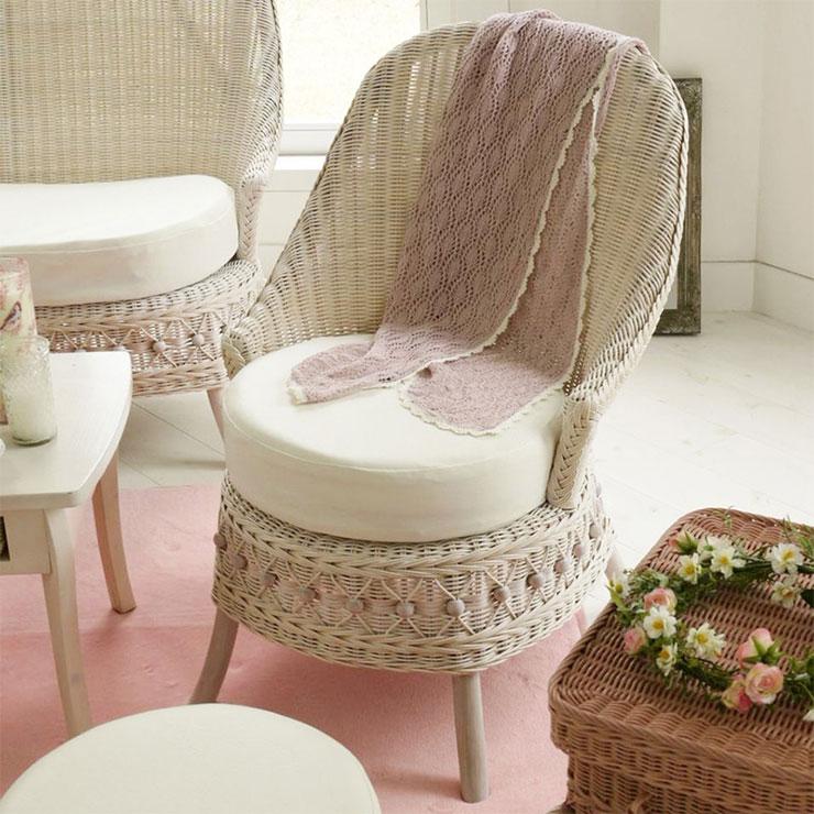 フィオーレ パーソナルチェア (ホワイトウォッシュ) 籐家具 イス 椅子 チェア 一人掛け 1人掛け 籐 ラタン クッション(代引不可)【送料無料】【S1】