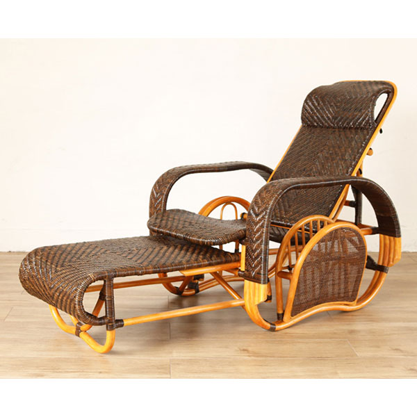 ラタン 手編み リクライニング チェア 籐家具 イス 椅子 チェア 座椅子 一人掛け 1人掛け 折りたたみ式 デッキチェア 籐(代引不可)【送料無料】