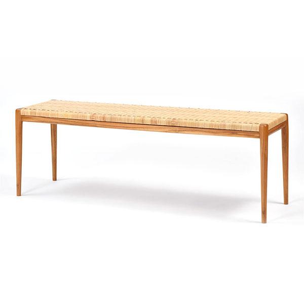 家具 インテリア チェア 椅子 イス いす ベンチ スツール 腰掛け ダイニング チーク 木製 ラタン 籐 ナチュラル デザイン(代引不可)【送料無料】