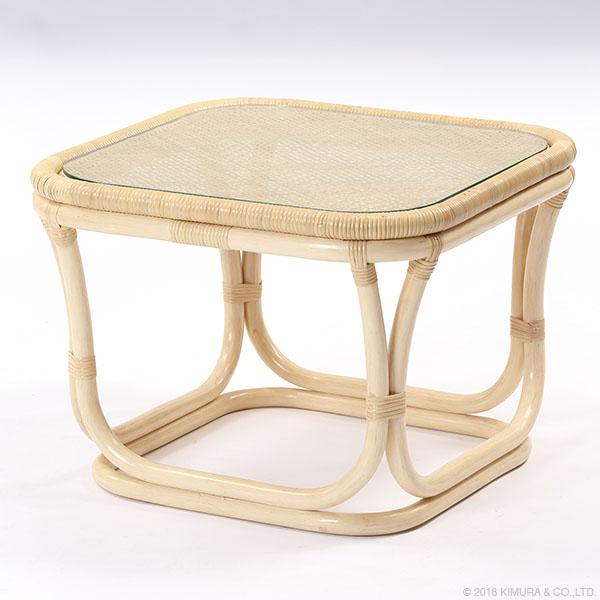 家具 籐家具 インテリア テーブル コーヒーテーブル サイドテーブル センターテーブル 机 籐 ラタン ガラス 旅館(代引不可)【送料無料】