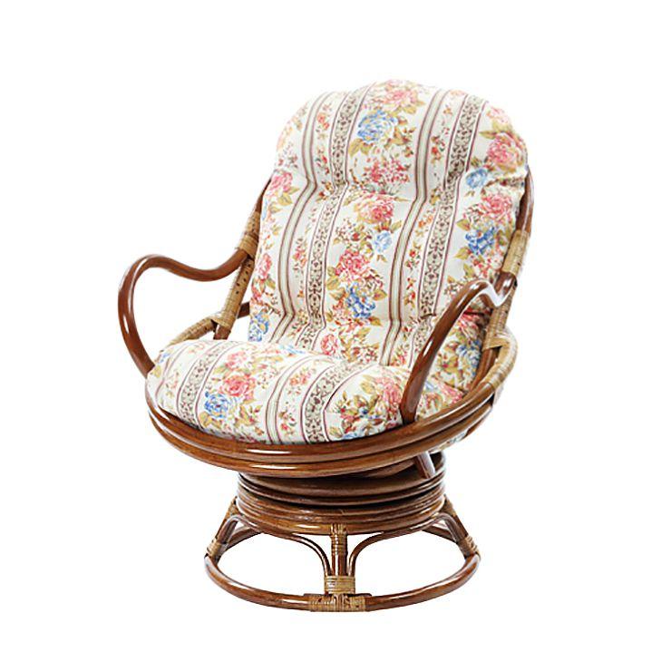 ラタン座椅子 花柄 ボタニカル柄 回転チェア チェア スツール 椅子 座椅子 アジアン エスニック(代引不可)【送料無料】