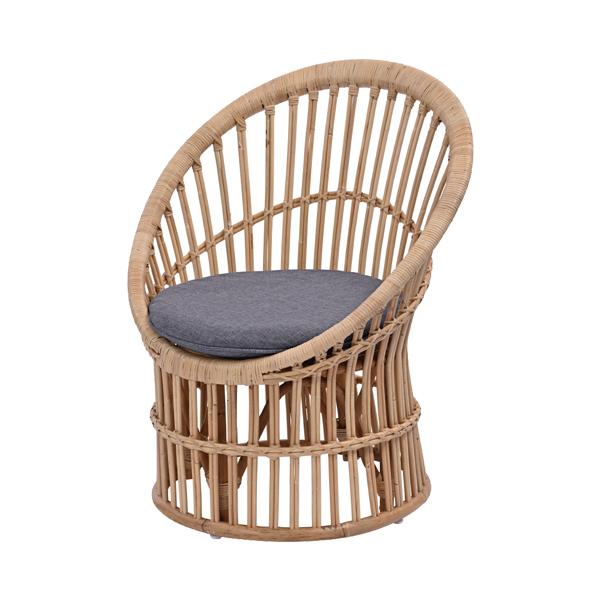 ラタン チェア ダークグレー パーソナルチェア イス 椅子 1人掛け 1P 天然素材 クッション付き ソファ 座椅子(代引不可)【送料無料】