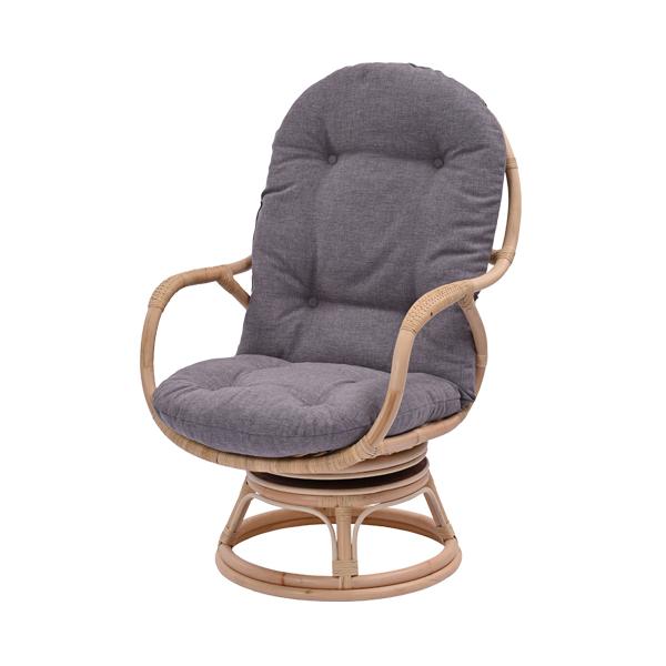 ラタン パーソナルチェア ライトグレー チェア 座椅子 回転椅子 回転チェア ラタンチェア 腰掛け 座イス 1人掛け(代引不可)【送料無料】
