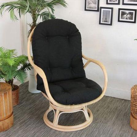 ラタン パーソナルチェア ブラック チェア 座椅子 回転椅子 回転チェア ラタンチェア 腰掛け 座イス 1人掛け(代引不可)【送料無料】