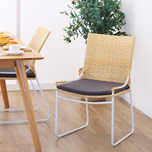 ダイニングチェア 椅子 いす カフェ パーソナルチェア 籐椅子 ラタン アルミ クッション ナチュラル 北欧 軽い(代引不可)【送料無料】