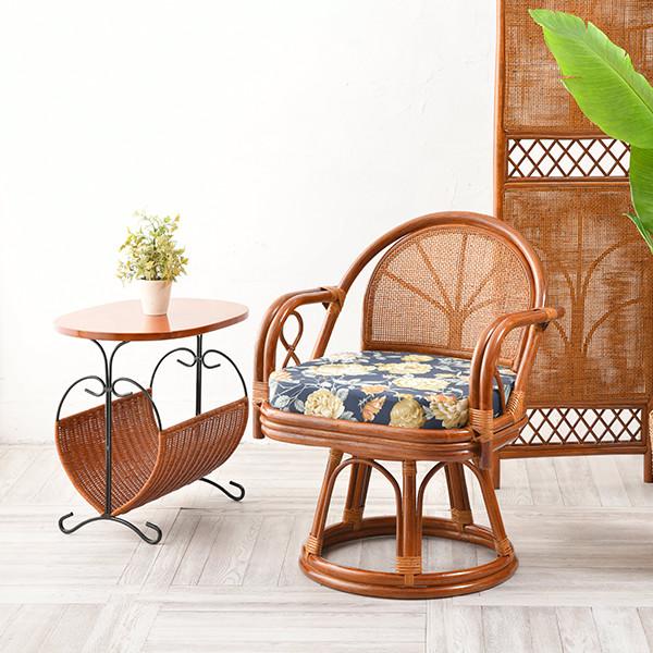 籐 回転椅子 イス チェア 和 高座椅子 ラタンチェア リラックス椅子 パーソナルチェア(代引不可)【送料無料】
