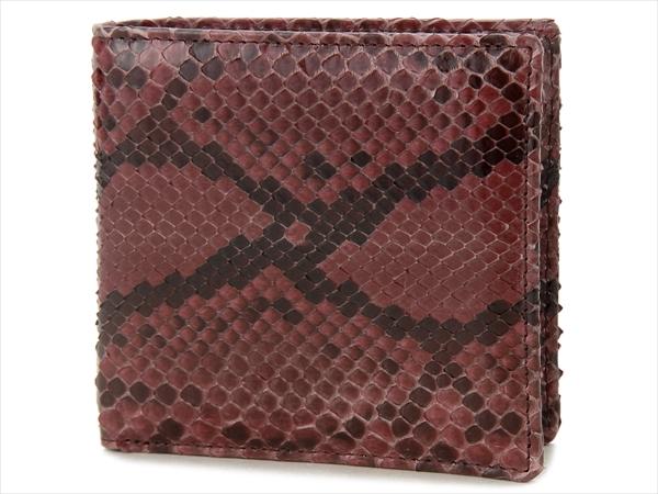 RODANIA ロダニア パイソン ヘビ革 二つ折り財布 ダイヤモンドパイソン ボルドー メンズ 財布 OKU7612【送料無料】