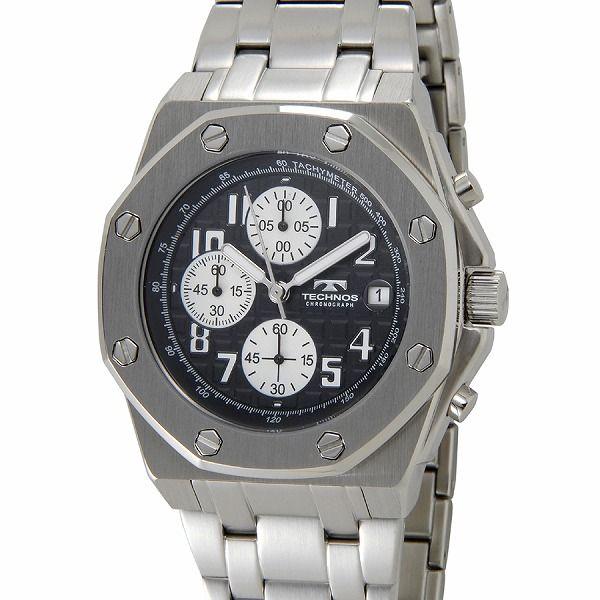 テクノス TECHNOS T4393SB クロノグラフ デイト 10気圧防水 八角形 ブラック×シルバー メンズ 腕時計【送料無料】