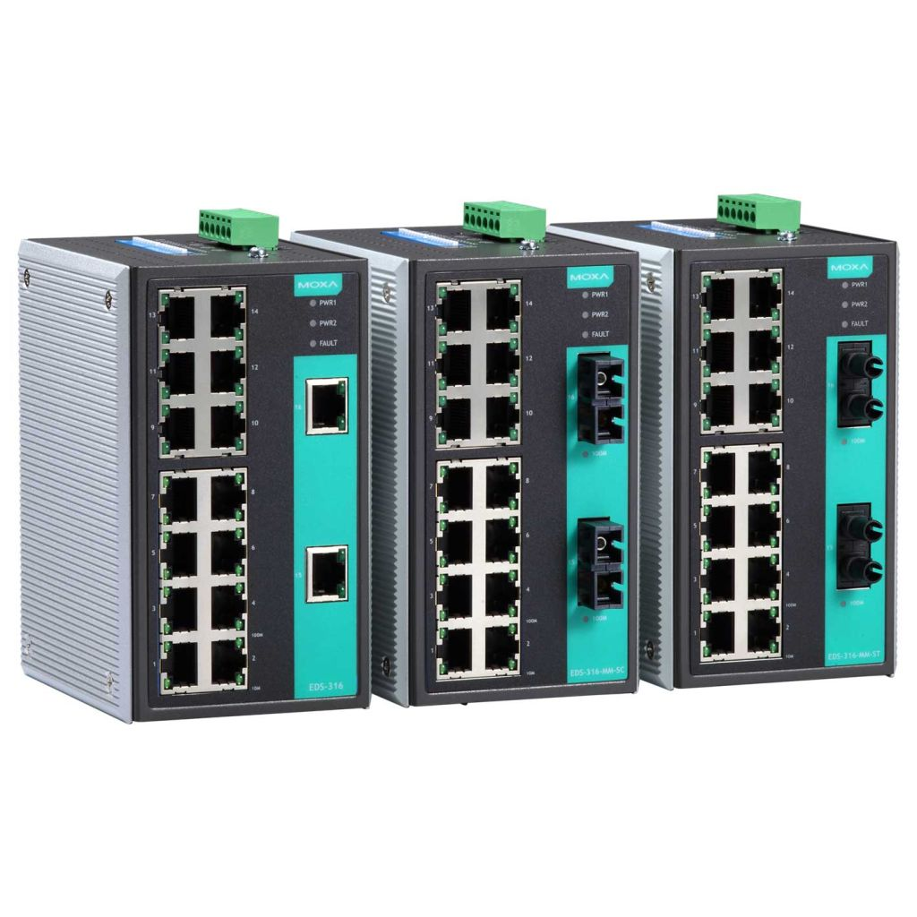 MOXA MOXA1 工業用イーサネットスイッチ 14ポートRJ45/1ポートマルチモードファイバSC/1ポートシングルモードファイバSC 40km シングルモード EDS-316-MS-SC(代引き不可)
