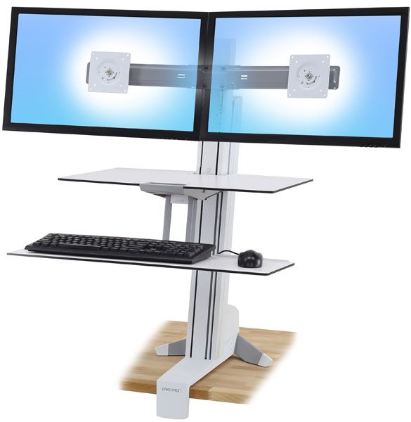 ERGOTRON WorkFit-Sデュアルワークスペース付 ホワイト 代引不可 当店では ギフトラッピング イベント