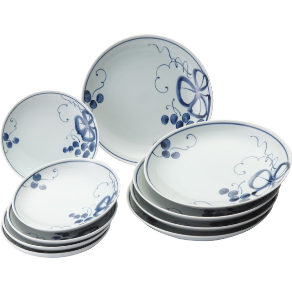 古染青磁ぶどう絵 組皿揃 和陶器 和陶皿 大皿 小皿セット 009-488M(代引不可)【送料無料】