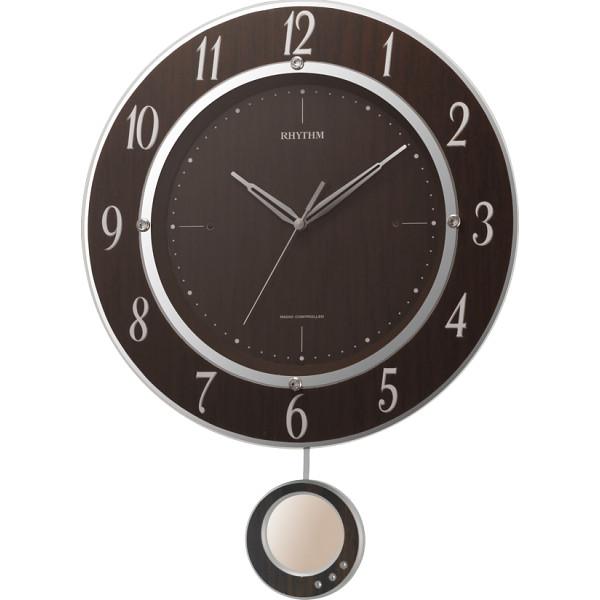 リズム 振子付電波掛時計 室内装飾品 掛け時計 振り子付時計 8MX403SR23(代引不可)【送料無料】