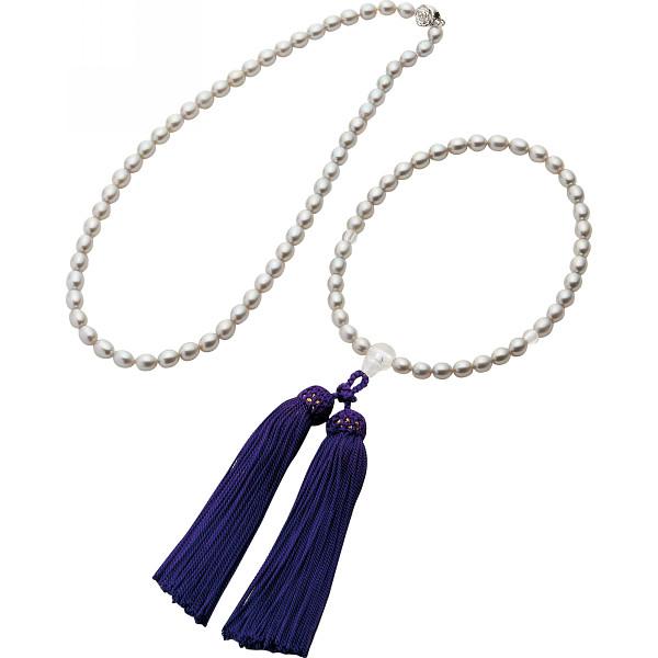 グレーパールネックレス 念珠セット 装身具 貴金属組合せセット パールセット 2Z33733(代引不可)【送料無料】