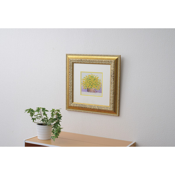 手描き油絵 「黄色のブーケ」 室内装飾品 絵画額 本物油絵 水彩画 N15-408(代引不可)【送料無料】