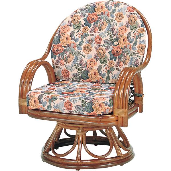 籐回転座椅子 ミドルハイタイプ 木製品 家具 籐家具 座椅子 H28S583B(代引不可)【送料無料】