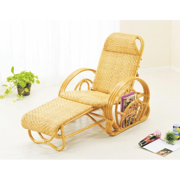 籐 三つ折寝椅子 木製品 家具 籐家具 座椅子 H28A100(代引不可)【送料無料】