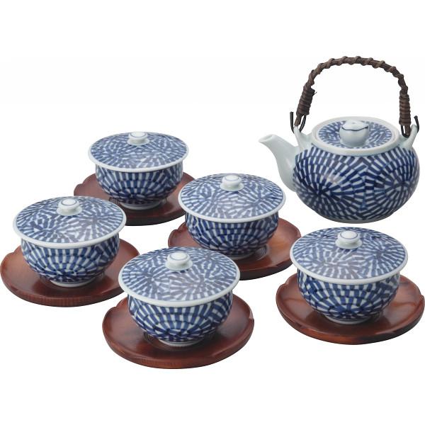 蛸唐草絵 番茶器揃(茶托付) 和陶器 和陶茶器 茶托付土瓶茶器 007-269M(代引不可)【送料無料】