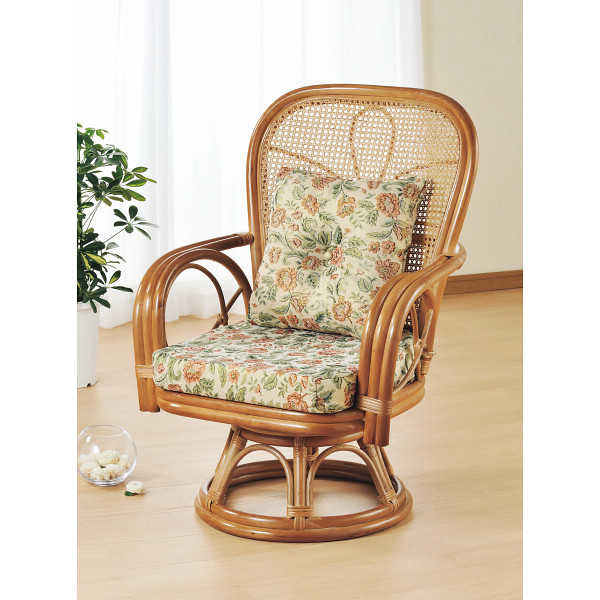 籐ハイバック回転座椅子 木製品 家具 籐家具 座椅子 H28S563(代引不可)【送料無料】