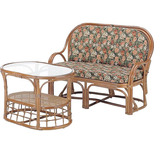 籐ラブチェア テーブル2点セット 木製品 家具 籐家具 チェアテーブルセット H28Y1000A(代引不可)【送料無料】