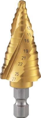 TRUSCO ステップドリル 3枚刃チタンコーティング 5~27mm 段数12【3S-NMS-27G】(穴あけ工具・ステップドリル)