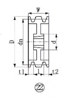 EVN ブッシングプーリー SPA 224mm 溝数3【SPA224-3】(駆動機器・ベアリング・プーリー)