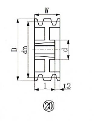 EVN ブッシングプーリー SPB 224mm 溝数3【SPB224-3】(駆動機器・ベアリング・プーリー)