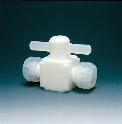 フロンケミカル 二方バルブ圧入型 8φ【NR0003-02】(理化学・クリーンルーム用品・特殊継手)